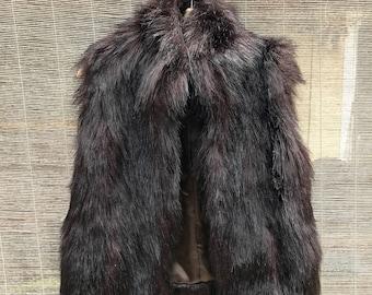 Black Faux Fur Vest (Small)