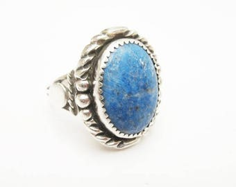 Blue Sodalite Gemstone Sterling Silver  ring  size 10 1/2