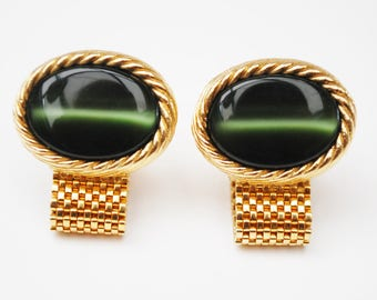 Green Cats eye Cuff link - Green chalcedony -  gold mesh wrap  - Mens Accessory  cufflinks