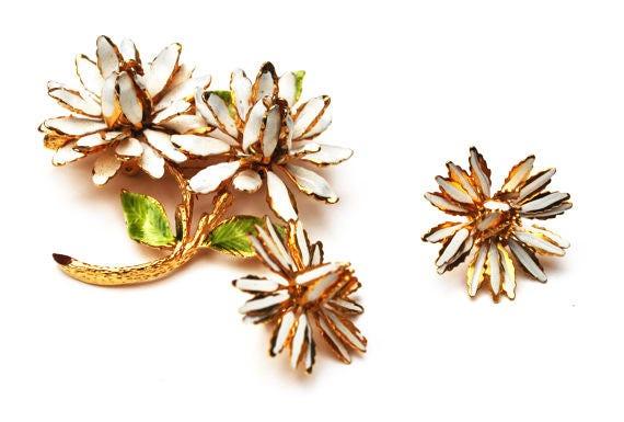 Enamel Flower Brooch Earrings - Signed Coro - white enameling gold metal - Mid Century floral pin and earrings