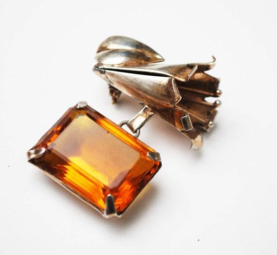 Art Nouveau - Sterling Silver - Brown Orange Amber  - Topaz crystal glass flower- dangle bar  brooch