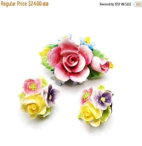 Artone Flower Brooch earring set -  Bone China - Pink Blue  ceramic -Made in England - Floral pin - Clip on earrings