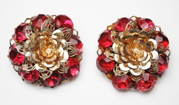 Large Flower Clip on Earrings - Red Rhinestone Gold foil - White pearl