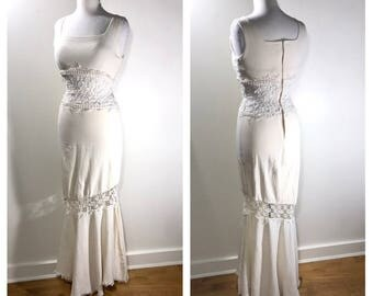 1970s White Crochet Gown White Boho Wedding Dress Summer Wedding Gown Country Wedding Cotton Festival Dress Maxi Dress