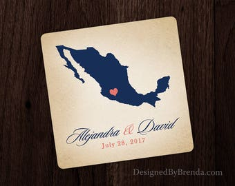 Wedding Favor Coasters with Rustic Vintage Look - Mexico or any Country or State, great for Destination Wedding - Inexpensive Paper Coaster