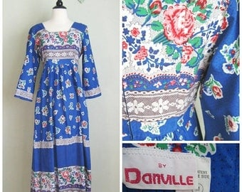 Summer Clearout 1970's Cotton Blue Floral Maxi Dress// Danville// Bell Sleeves// BoHo