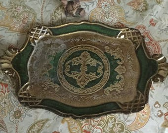 Vintage Florentine Italy/Italian Paper Mache Tole Serving Tray Green/Gold Design