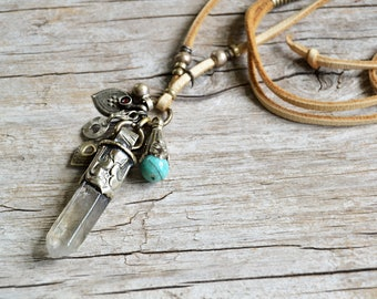 Crystal necklace, bohemian jewelry, boho jewelry, quartz point necklace, bohemian necklace, amulet necklace, gift for her