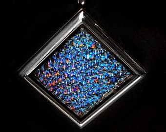 Bismuth Crystal Necklace Stainless Steel Floating Locket Diamond / Square Boho Jewelry Bismuth Geode - Iridescent Jewelry Science Gift
