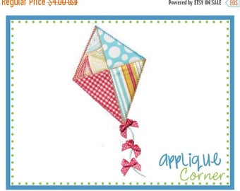 50% Off Kite with Heirloom stitch and bows applique digital design for machine by Applique Corner