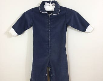 60s 70s Baby Boy Navy Blue Corduroy Zip Front Jumpsuit, Size 0 to 6 months