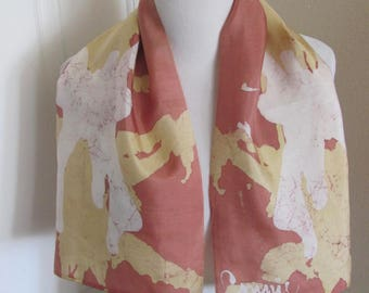 """Beige Hand Painted Dyed Soft Silk Scarf 12"""" x 36"""" Long"""