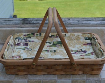 serving basket serving tray handles rectangle Hickory wood