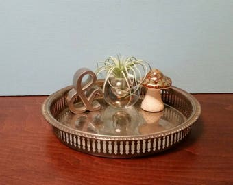"""Round Silver Plated Vanity Tray - 9.25"""""""
