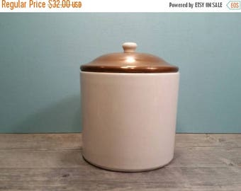 SALE - Copper & Stoneware Canister