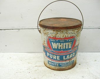 Vintage White Lard Can Tin Salisbury NC With Lid Rusty Primitive