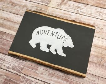 Adventure Bear Basswood Hand-painted, Hand-lettered Wood Sign
