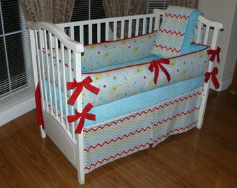 Reserved for Trinity A., Crib Baby Bedding Aqua- Red- Grey- Chevron, 3pc Bedding Set