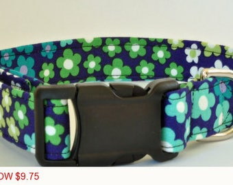 "Sale - 50% Off - Floral Dog Collar - Midnight Blue with Multi-Colored Flowers - ""Michelle"" - Free Colored Bu"