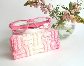 Set of 2. White and Pink Glasses Case and Coffee Cup Cozy. Wonderful Gift For You