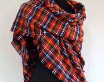 Large scarf shawl, pointed tartan wool orange, blue and green