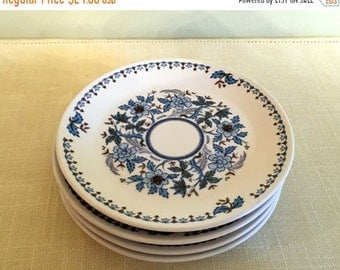Save 15% OFF Noritake Progression BLUE MOON Bread Plates (4) Blue White & Green Floral Dishes Pattern 9022  Japan 1969-1980 Very Good Cond.