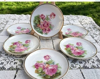 Save 15% OFF Antique Cake Plates/6 Dessert Plates/ C T Altwasser/Pink Rose Bouquet/Hand Painted Gold Rim/6 in Dessert Plates/Germany/Rose Po