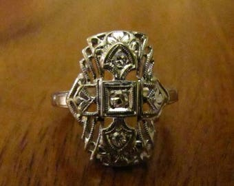 DEADsy LAST GASP SALE edwardian cluster : Antique Diamond Engagement Ring, White Gold Three Stone Victorian to Edwardian Filigree