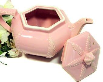 1940s Hall Victorian Series Pink Plume Teapot Hexagon