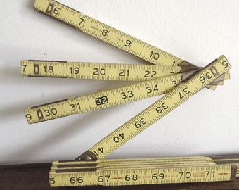 Folding Tape Measure, yard stick, wood rule, folding ruler, Vintage tool, industrial man cave, extension ruler, made in USA
