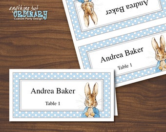 Printable Peter Rabbit Place Cards, Gray and Blue Editable Name Cards, INSTANT DOWNLOAD, digital file