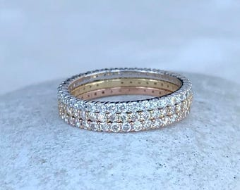 Diamond Eternity Pave Band- Woman Diamond Wedding Band- Thin Dainty Diamond Engagement Band- Diamond Ring Stack- Rose White Yellow Gold