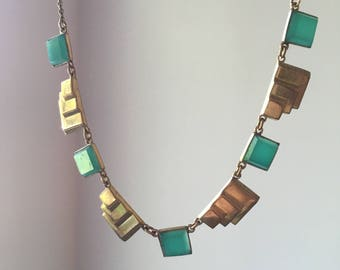Vintage Art Deco Style Necklace - Stamped Brass