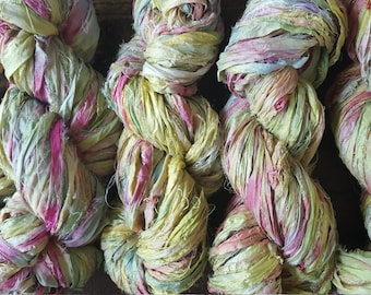 Hand dyed sari silk yarn 100 grams aprox 30 yards