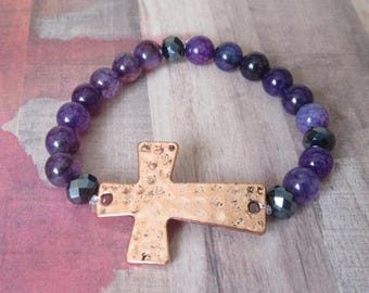 Handmade Hammered Copper Sideways Cross with Purple Agate Beads