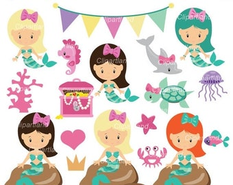 ON SALE INSTANT Download. Cm_50_mermaids. Mermaids clip art. Personal and commercial use.