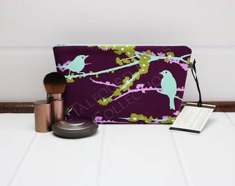 Small Makeup Bag - Cosmetic Bag - Bird Cosmetic Pouch - Zipper Makeup Pouch - Purple Makeup Bag - Joel Dewberry Aviary 2 - Gift for Her