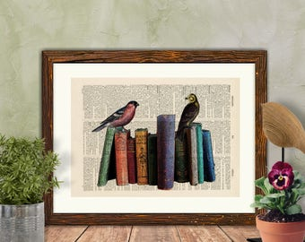 Vintage Birds on Books, Book Page Art Print, Antique Book Page Art, Dictionary Art, Wall Art, Bird Watcher Gift,