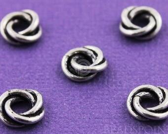 Bali en argent Sterling 6mm torsadé entretoise noeud d'amour ou un lien, oxydé finition, bel Accent pour vos bijoux en perles, (10 pièces) (BA5167)