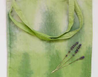 Tie dyed cotton bag, green landscape, garden