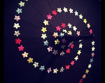 Starry night Pagoda Umbrella, black umbrella/parasol, star umbrella, bespoke umbrella, sun parasol