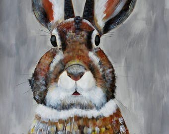 9x12, 18x24 or 38x50 Giclee Fine Art Print of Original Painting of Bunny Rabbit by artist Natalie Jo Wright