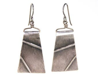 "Textured sterling silver ""Tectonics"" New Madrid Earrings"