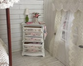 Shabby chic dollhouse  dresser  with  maternity announcement set- Free Shipping to the US