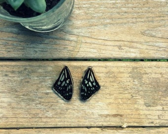 Black spotted butterfly wing earrings