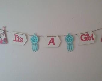 Girl Tribal Baby Shower-TeePee Baby Girl Shower-It's a Girl Tribal Baby Shower Banner-It's a Girl  Dream Catcher Baby Banner