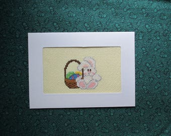Greeting Card Easter Bunny and Egg Basket