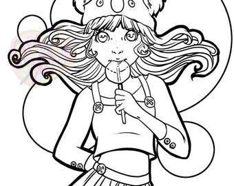 Lollipop Digital Coloring Page