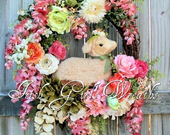 Spring Wreath, Easter Lamb Wreath, Wisteria, Rose, Easter Wreath, Spring Floral Wreath, Sheep Wreath, Easter Floral