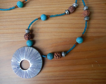 Handmade Beaded Necklace with Round Silver Pendant - Brown and Teal - Hippie, Bohemian, Earthy, Bodhi Seed Prayer Beads - One of a kind